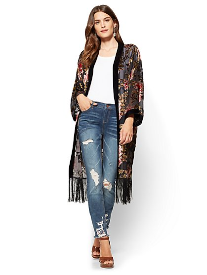 Fringed Burnout Kimono - Black  - New York & Company