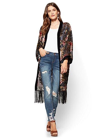 Fringed Burnout Kimono - Black  - New York & Company