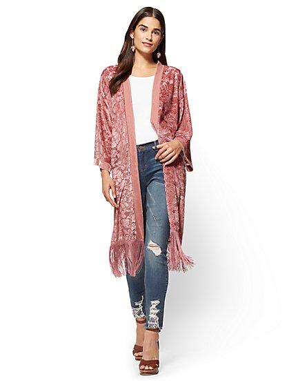 Fringed Burnout Kimono - Pink  - New York & Company