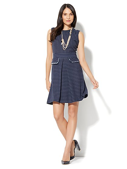 Fringed Pinstripe Sheath Dress - New York & Company