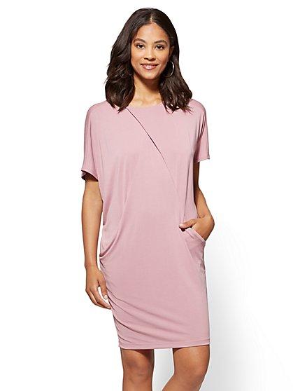 Front-Pleat Dolman Shift Dress - New York & Company