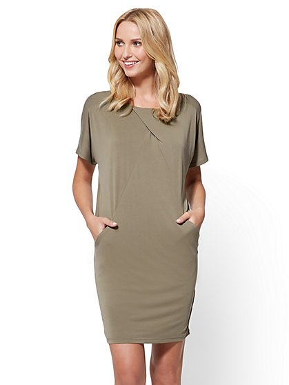 Front-Pleat Dolman Shift Dress - New York & Company