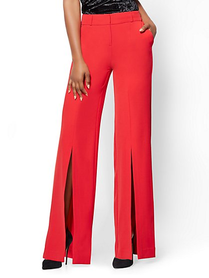 Front-Slit Palazzo Pant - Red - New York & Company