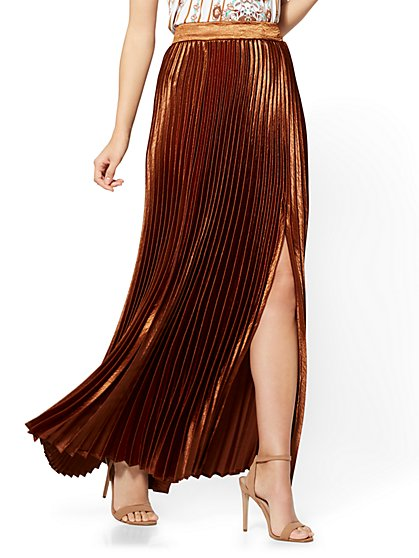 Front-Slit Pleated Maxi Skirt - Brown - New York & Company