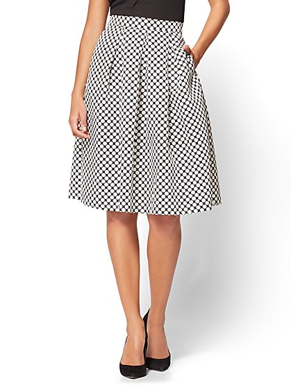 Full Pleated Skirt - Circle Print - New York & Company