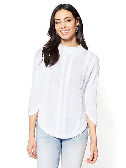 Funnel-Neck Cable-Knit Sweater - New York & Company