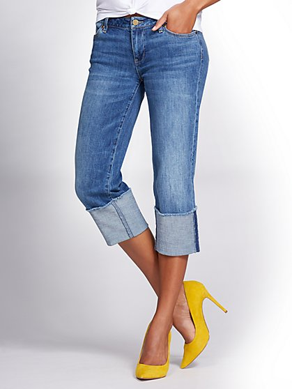 Gabrielle Union Collection - Cuffed Boyfriend Jean - Blue Slate Wash - New York & Company