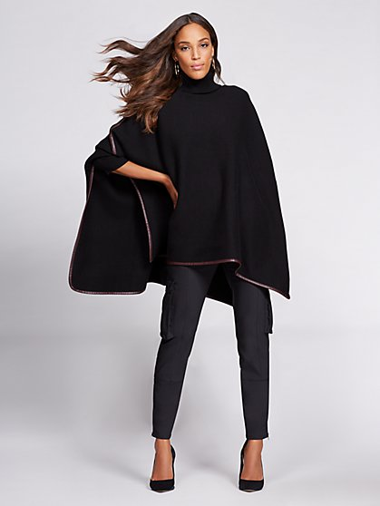 Gabrielle Union Collection - Faux-Leather Trim Cape - New York & Company