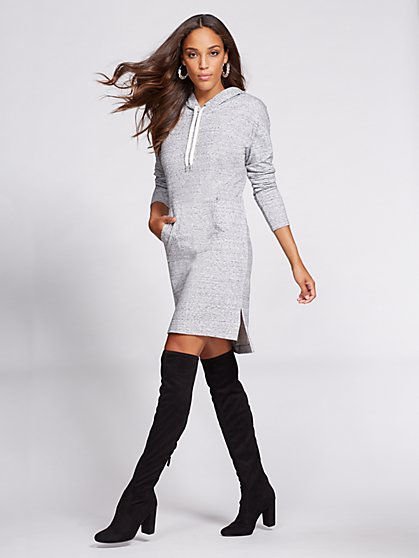 Gabrielle Union Collection - Hooded Sweatshirt Dress - Grey  - New York & Company