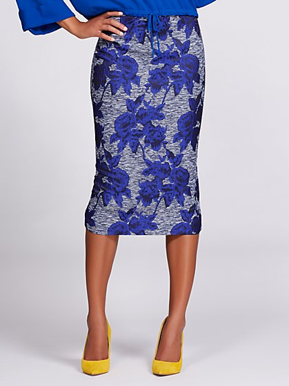 Gabrielle Union Collection - Jacquard Pencil Skirt - Blue - New York & Company