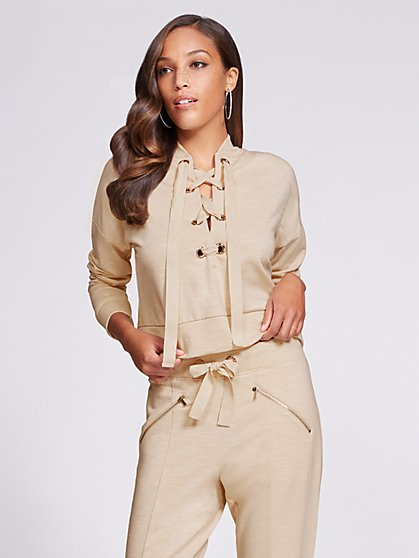 Gabrielle Union Collection - Lace-Up Crop Sweatshirt - Beige - New York & Company