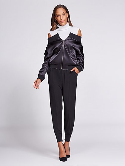 Gabrielle Union Collection - Off-The-Shoulder Bomber Jacket - Black - New York & Company