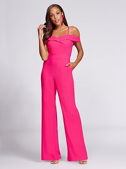 Gabrielle Union Collection - Off-The-Shoulder Jumpsuit - Hot Pink - New York & Company
