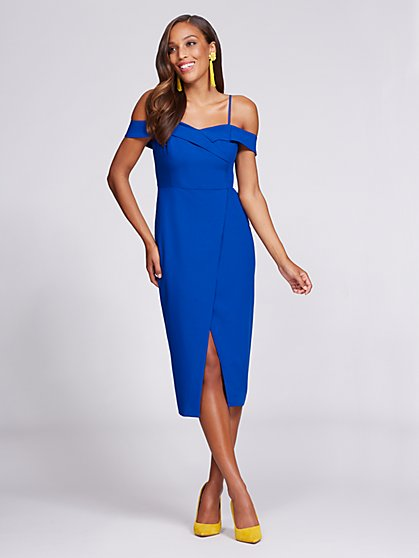 Gabrielle Union Collection - Off-The-Shoulder Sheath Dress - Blue - New York & Company