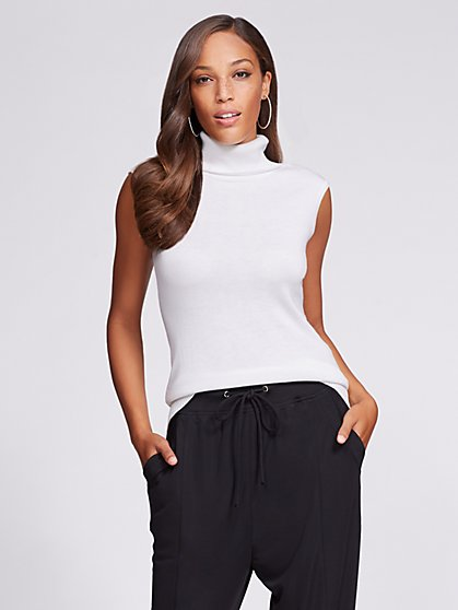 Gabrielle Union Collection - Sleeveless Turtleneck Sweater - White - New York & Company