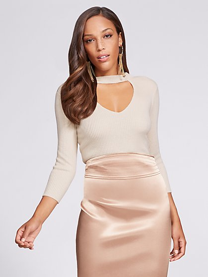 Gabrielle Union Collection  - V-Neck Choker Bodysuit - New York & Company