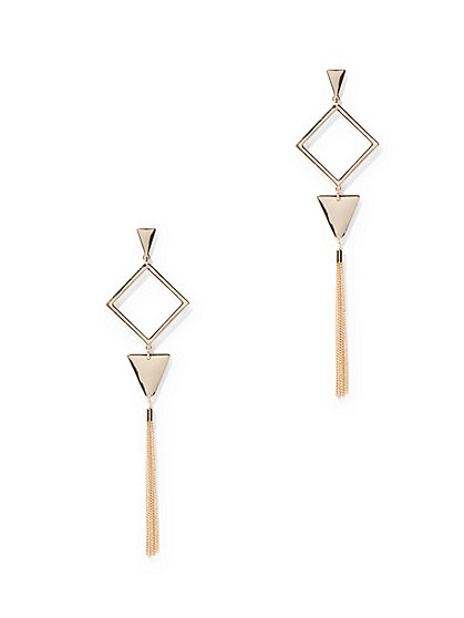 Geo Tassel Linear Drop Earring  - New York & Company