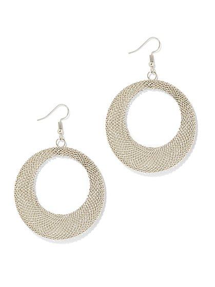 Glimmering Mesh Hoop Earring - New York & Company