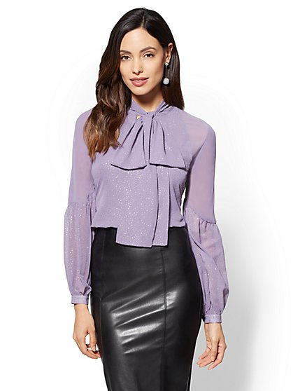 Glitter-Finish Bow Blouse - New York & Company