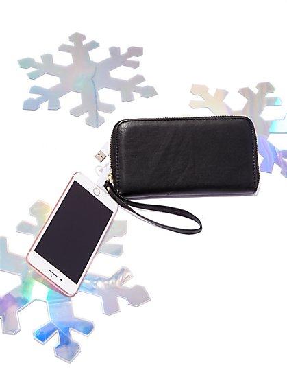 Glitter Finish Charging Wallet - New York & Company