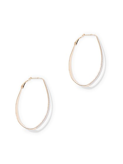 Glitter-Finish Hoop Drop Earring  - New York & Company