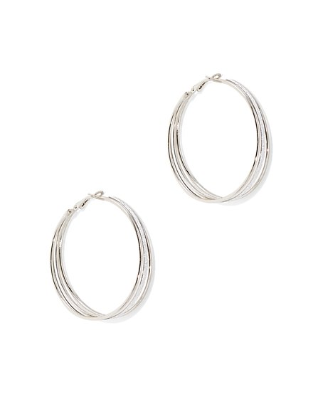Glitter-Finish Hoop Earring  - New York & Company