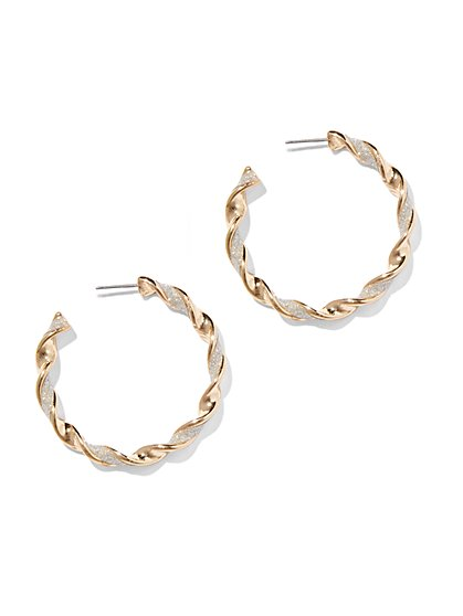 Glitter-Finish Twist Hoop Earring  - New York & Company