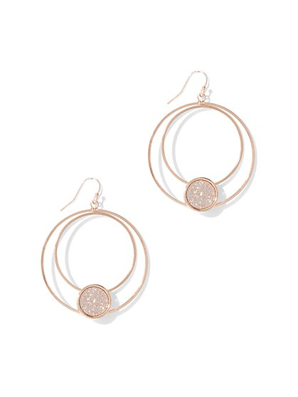 Glitter Hoop Drop Earring  - New York & Company