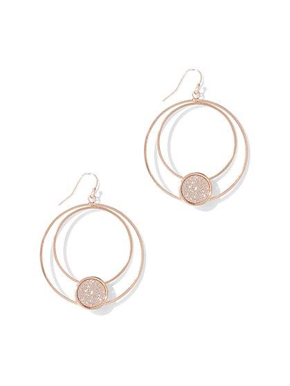 Glitter Hoop Drop Earring  - New York & Company