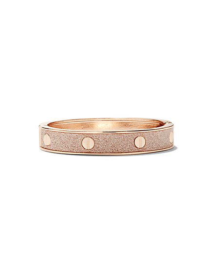 Glitter Rose Goldtone Bangle Bracelet  - New York & Company