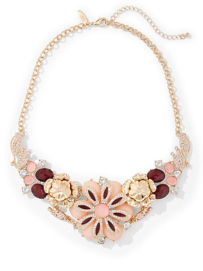 Glittering Floral Statement Necklace  - New York & Company