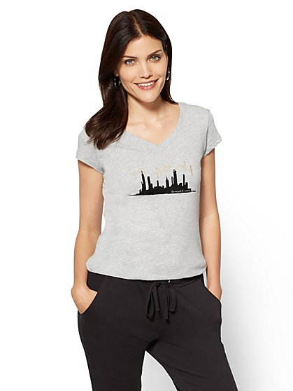 "Glittering ""New York City"" Graphic Logo Tee - New York & Company"