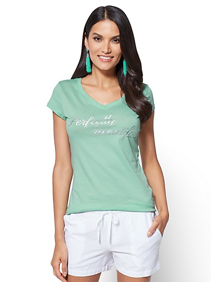 "Glittering ""Perfectly Beautiful"" Graphic Logo Tee - New York & Company"