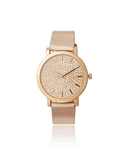Glittering Rose Goldtone Watch - New York & Company
