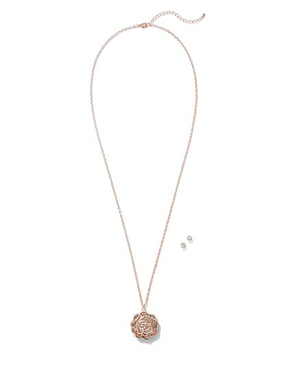 Glittering Rose Pendant Necklace  - New York & Company