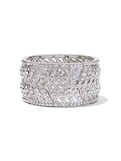 Glittering Silvertone Stretch Bracelet - New York & Company