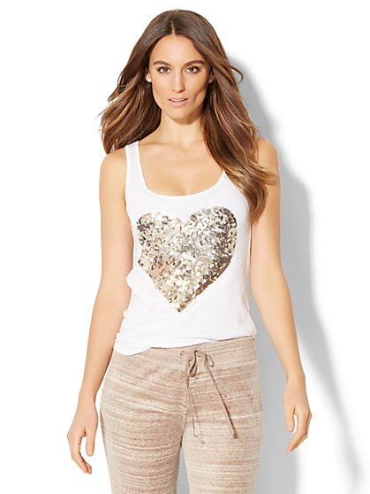 Gold & Silver Sequin Heart Tank Top - New York & Company