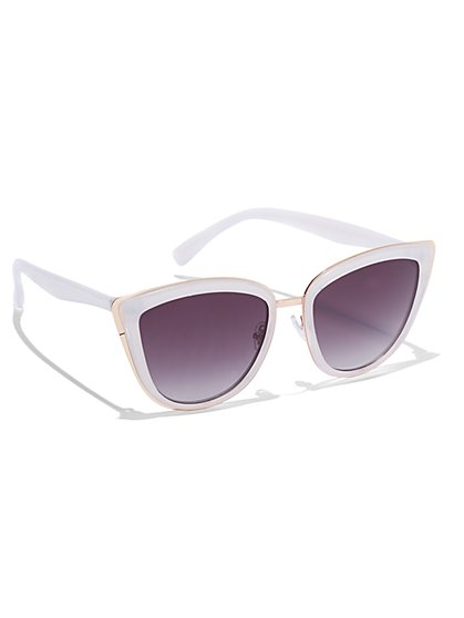 Goldtone-Accent Cat-Eye Sunglasses  - New York & Company