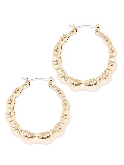 Goldtone Bamboo Hoop Earring  - New York & Company
