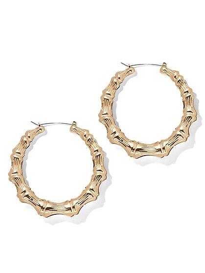 Goldtone Bamboo Hoop Earring - New York & Company