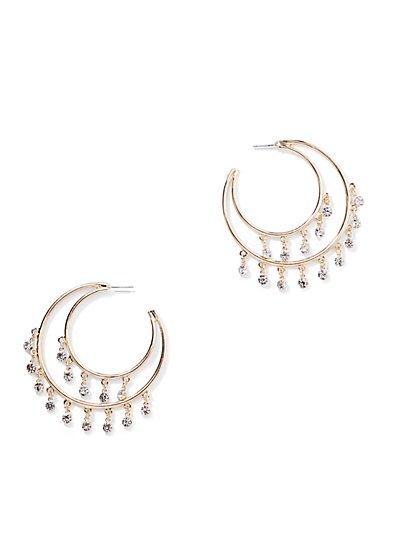 Goldtone Beaded Hoop Earring - New York & Company