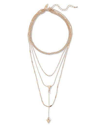 Goldtone Chain-Link Choker Pendant Necklace  - New York & Company