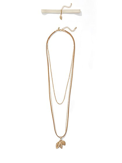 Goldtone Choker & Pendant Necklace  - New York & Company