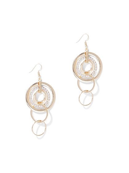 Goldtone Circular Drop Earring - New York & Company