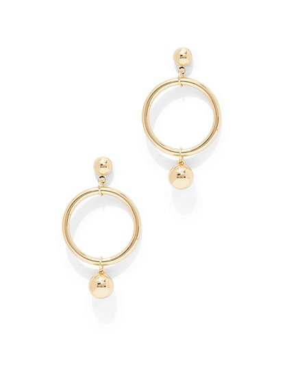 Goldtone Circular Link Earring  - New York & Company