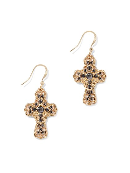 Goldtone Cross Drop Earring - New York & Company