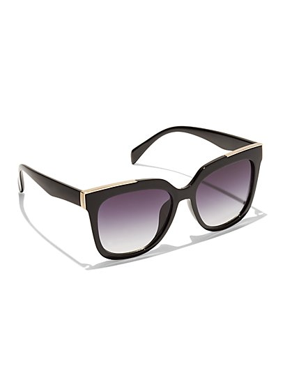 Goldtone-Edged Cat-Eye Sunglasses - New York & Company