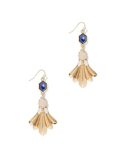 Goldtone Fan Drop Earring  - New York & Company