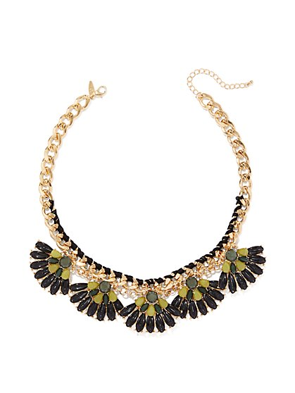 Goldtone Fan Statement Necklace  - New York & Company
