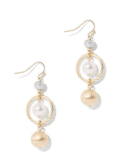 Goldtone Faux-Pearl Drop Earring  - New York & Company